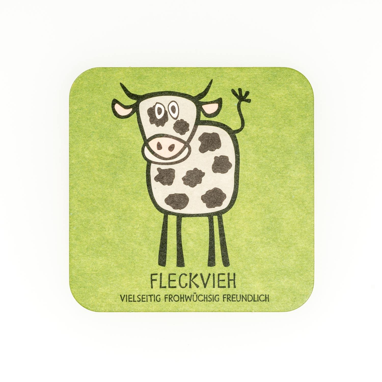 Bierdeckel grün Kuh Fleckvieh Spiel Geschenk für Herren Tirol Design