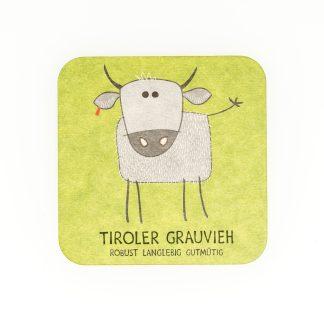 Bierdeckel grün Kuh Grauvieh Spiel Geschenk für Herren Tirol Design