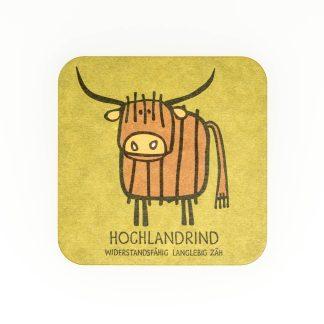 Bierdeckel grün Kuh Hochlandrind Spiel Geschenk für Herren Tirol Design