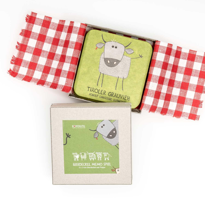 Bierdeckel grün Kuh Spiel Geschenk für Herren Tirol Design