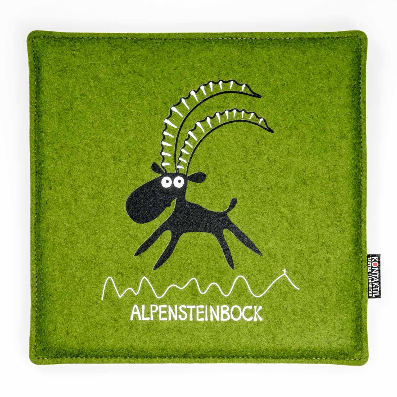 Filz Sitzpolster grün Tirol Steinbock