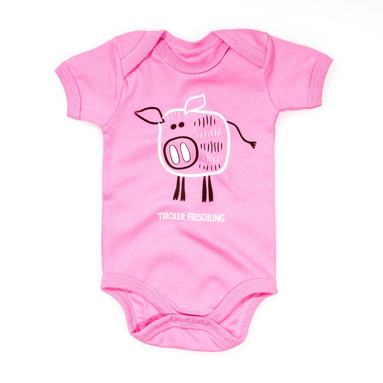 Baby Body Frischling Baumwolle pink blau Kurzarm Wildschwein Strampler