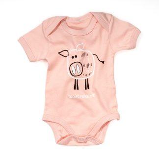 Baby Body Frischling Baumwolle rosa blau rot Kurzarm Wildschwein Strampler