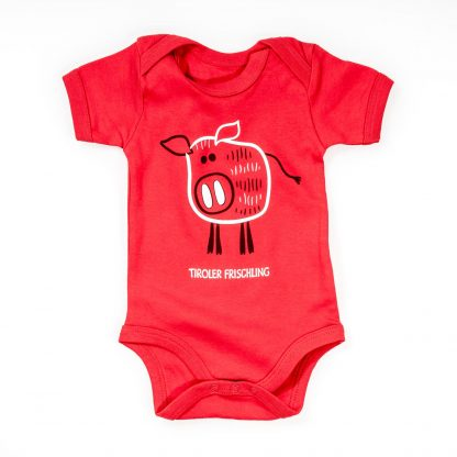 Baby Body Frischling Baumwolle rot blau Kurzarm Wildschwein Strampler