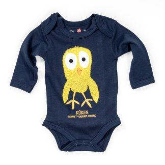 Baby Body Küken Bio Baumwolle blau Langarm Kücken Strampler