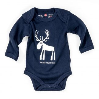 Baby Body Hirsch Bio Baumwolle blau Langarm Tiroler Prachtstück Strampler