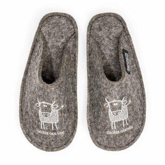 Filzpatschen aus Tirol: Tiroler Grauvieh Wolle Steinschaf Kuh Design