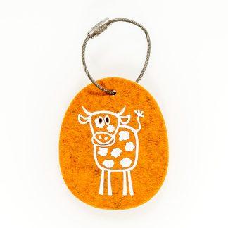 Schlüsselanhänger Filz Tier Design Tirol Wolle Fleckvieh Kuh Geschenk