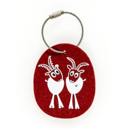 Schlüsselanhänger Filz Tier Design Tirol Wolle Steinbock Geschenk Hochzeit Hausbau