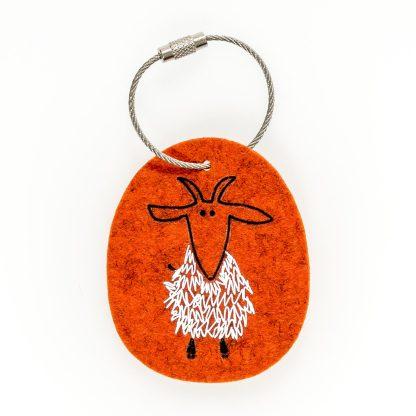Schlüsselanhänger Filz Tier Design Tirol Wolle Ziege Geschenk Einzug