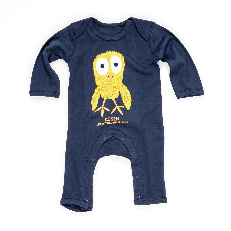 Baby Strampler Küken blau Baumwolle Design aus Tirol Kücken