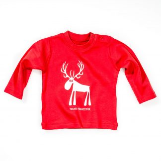 Hirsch Baby T-Shirt Tiroler Prachtstück Langarm rot blau Geschenk für Neugeborene