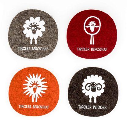 Filz Untersetzer Schaf Geschenk für Einladung Tirol Design