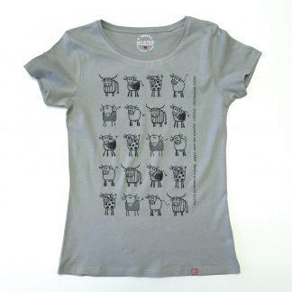 Kuh Tirol Design T-Shirt Damen blau Artenvielfalt Geschenk für Bäuerin