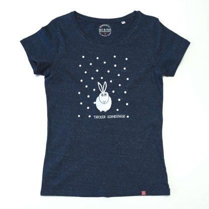 Hase Tirol Design T-Shirt Damen schwarz Tiroler Schneehase Schihase
