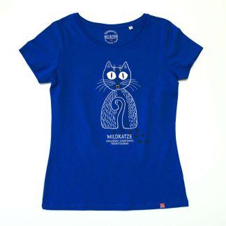 Katze T-Shirt Damen Tirol Design Wildkatze blau ungezähmt