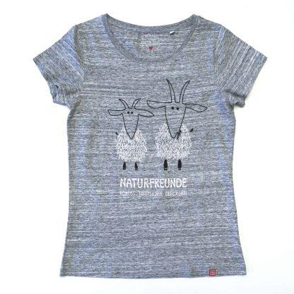 Ziege Tirol Design T-Shirt Damen blau Naturfreunde Geschenk für Berg Freundin