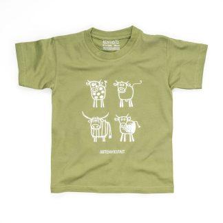 T-Shirt Kuhmotiv Kind Buben Mädchen Jungen grün Artenvielfalt Kühe