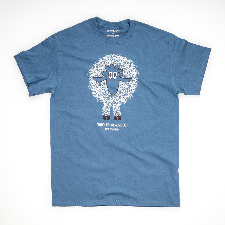 Tirol Design Schaf blau Herren T-Shirt Tiroler Bergschaf ungeschoren Geschenk