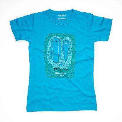 Schaf Tirol Design T-Shirt Damen blau Bergschaf geschoren