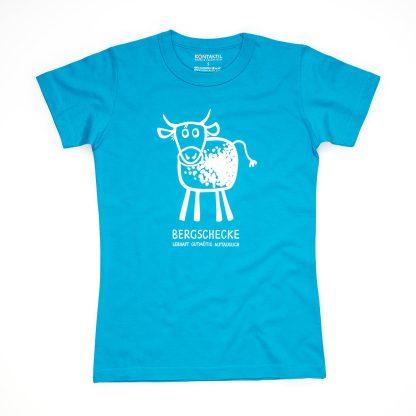 Kuh Tirol Design T-Shirt Damen blau Bergschecke Bergschnecke Geschenk wandern