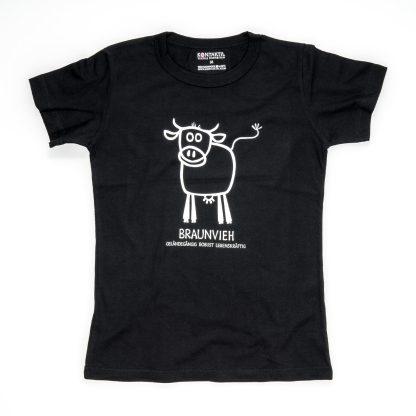 Kuh Tirol Design T-Shirt Damen schwarz Braunvieh Geschenk für Landwirtin