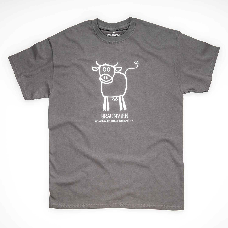 Tirol Design Braunvieh Kuh grau Herren T-Shirt Geschenk für Bauer