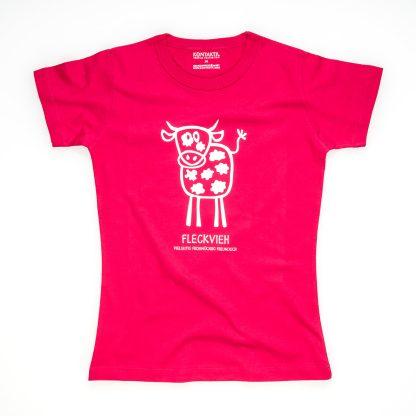 Fleckvieh T-Shirt Damen Tirol Design Kuh pink Züchterin