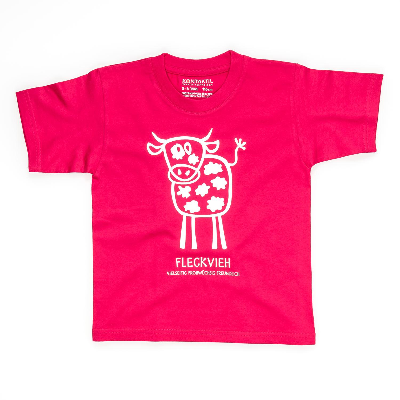Fleckvieh T-Shirt Kuhmotiv Kind Mädchen pink Kuh Bauernhof