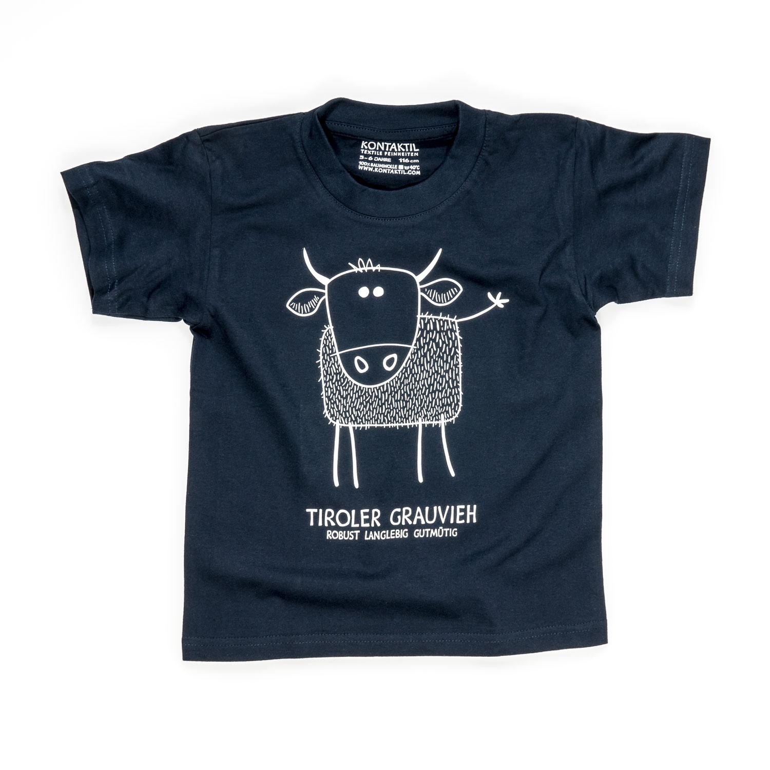 Tiroler Grauvieh T-Shirt Kind Buben Mädchen Jungen blau Kuh