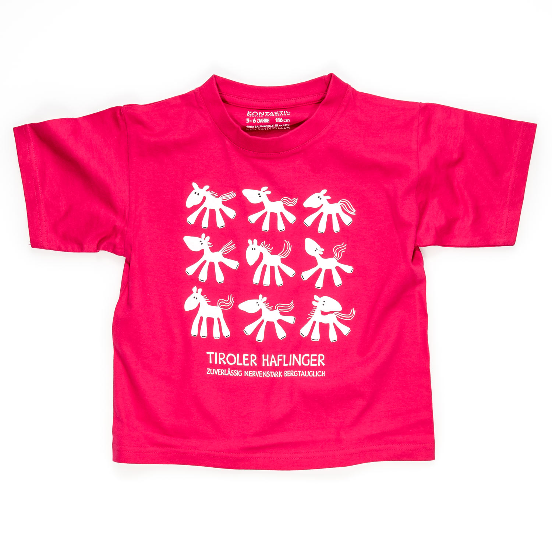 Pferd T-Shirt Mädchen Kind pink Pferdemotiv Tiroler Haflinger