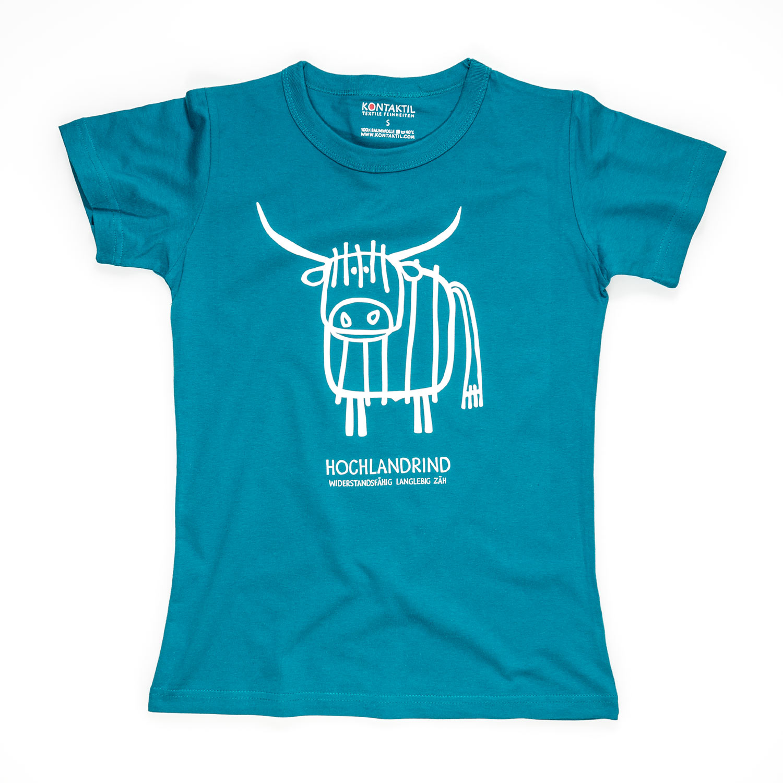 Hochlandrind Tirol Design T-Shirt Damen blau Kuh Rind Zucht