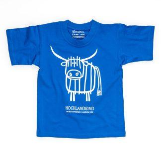Hochlandrind T-Shirt Kind Kuh für Buben Mädchen Jungen blau Herren