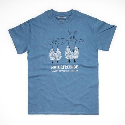 Tirol Design Ziege Naturfreunde blau Herren T-Shirt Geschenk für Bergsteiger