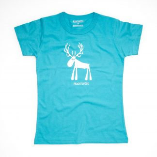 Hirsch Tirol Design T-Shirt Damen blau Prachtstück Geschenk