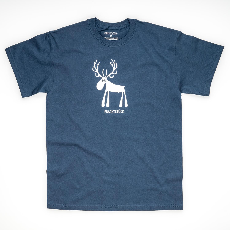 Tirol Design Hirsch blau Prachtstück Herren T-Shirt Geschenk für Mann