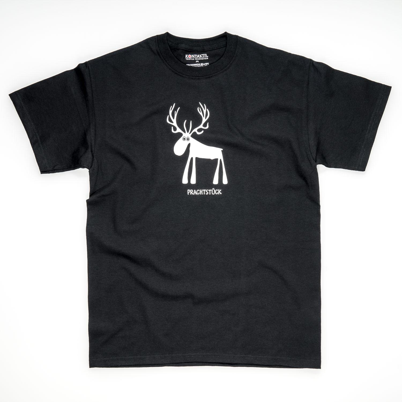 Tirol Design Hirsch schwarz Herren T-Shirt für Jäger Prachtstück Geschenk
