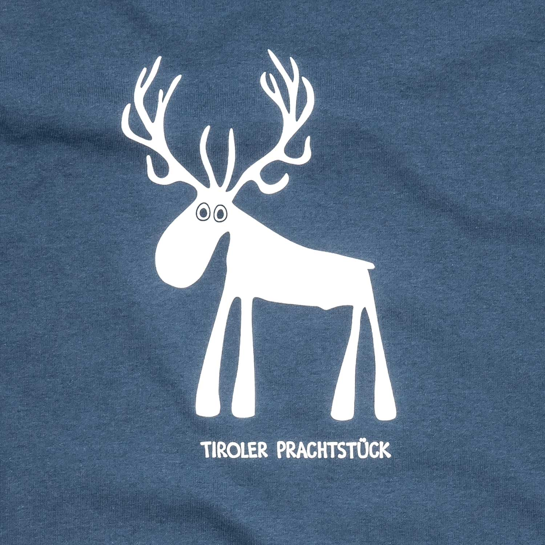 Tirol Design Hirsch blau Tiroler Prachtstück T-Shirt Geschenk für Herren