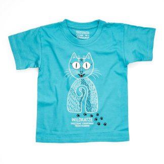 Katze T-Shirt Kind Wildkatze Buben Mädchen Junge blau