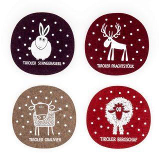 Tiere im Schnee Filz Untersetzer Geschenk Weihnachten Wolle Tirol Design