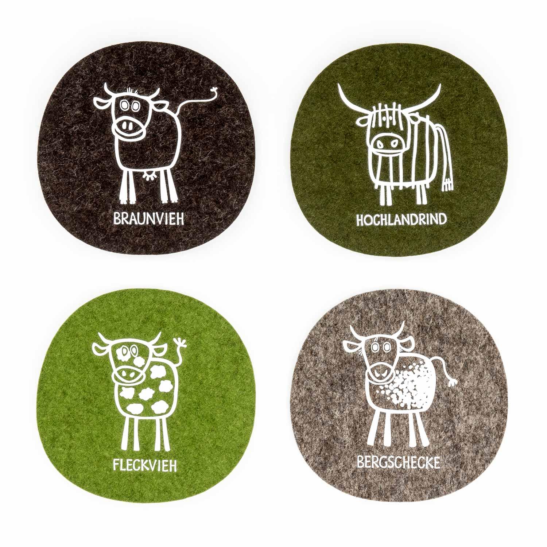 Filz Untersetzer Kuh Geschenk Bauer Tirol Design