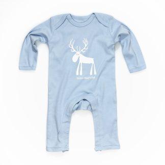 Baby Strampler Hirschmotiv blau Baumwolle Tiroler Prachtstück Design aus Tirol