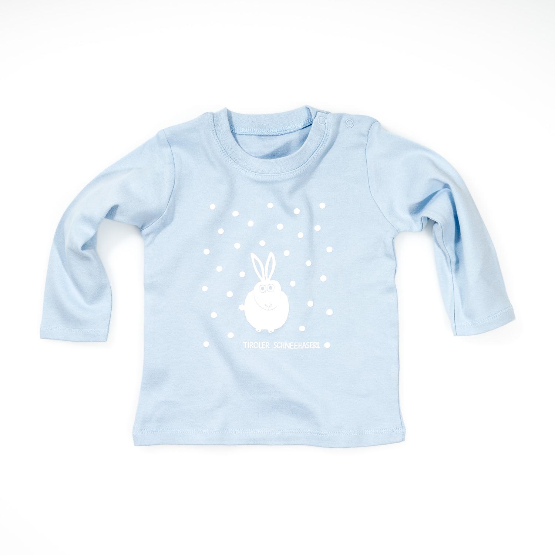 Hase Baby T-Shirt Langarm pink blau Schneehase Tiroler Schneehaserl
