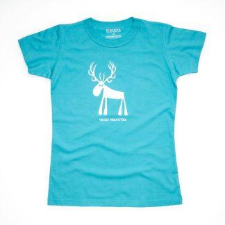 Hirsch Tirol Design T-Shirt Damen blau Tiroler Prachtstück