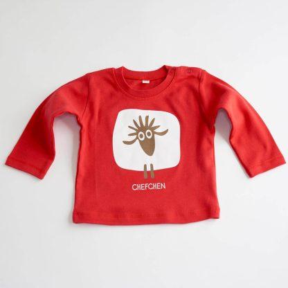 Schaf Baby T-Shirt Langarm rot Chefchen Geschenk für Babys